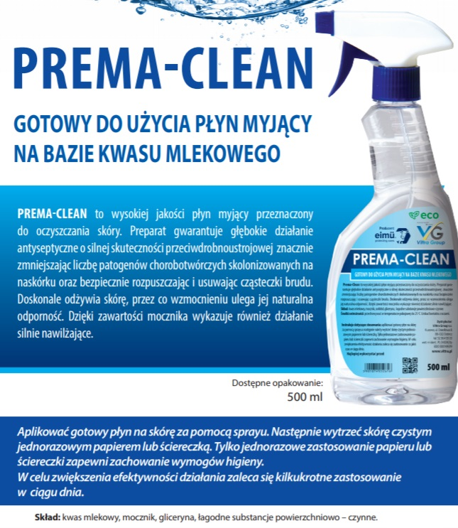 Vittra Prema Clean płyn do dezynfekcji rąk spray 500ml